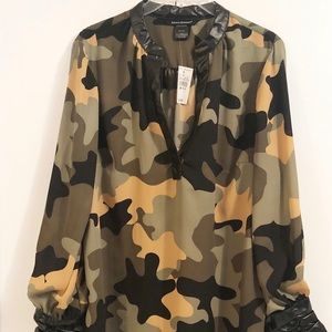 Ashley Stewart Camo Faux Leather Trim Blouse NWT